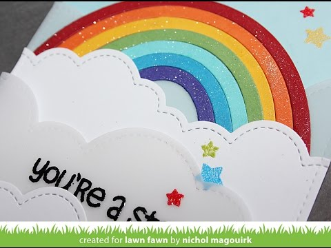Lawn Fawn   Rainbow + Puffy Cloud Borders Dies