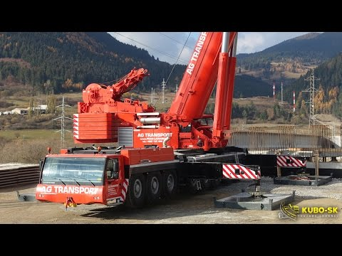 Liebherr LTM 1500-8.1 - mobile crane lifting concrete beam