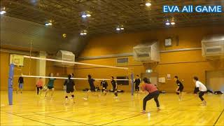 【男女混合バレーボール】All#33-4 EVA25点ゲーム[Commentary]解説 Men and Women Mixed  Volleyball JAPAN TOKYO