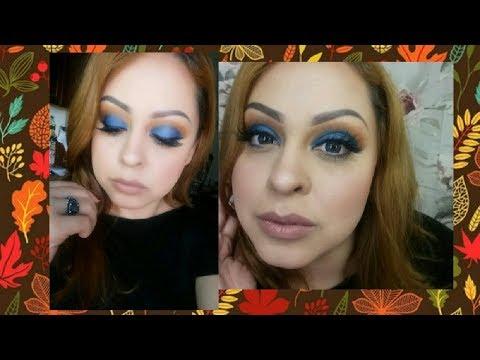 Electric Blue and Orange Makeup- Fall Makeup   MichiD