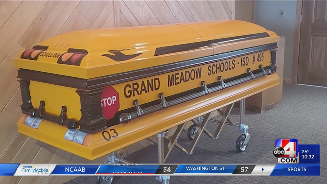 School bus driver laid to rest in custom school bus style casket