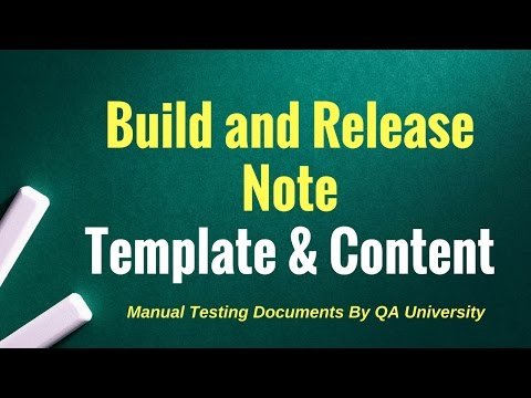 Build and Release note sample document