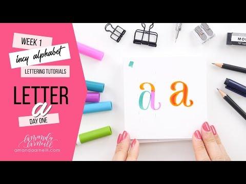 Incy Alphabet: Lettering Tutorial | Day 1 Letter A | Amanda Arneill