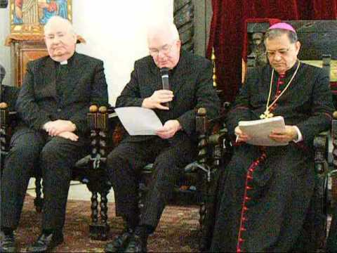 Mgr Patrick Kelly reads the final Communique of the Holy Land Coordination