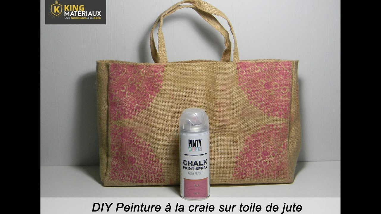 diy peinture la craie sur sac en toile de jute youtube. Black Bedroom Furniture Sets. Home Design Ideas