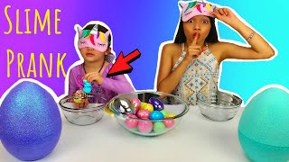 Easter Eggs Blindfolded Slime PRANK Challenge *CHEATING gone WRONG!