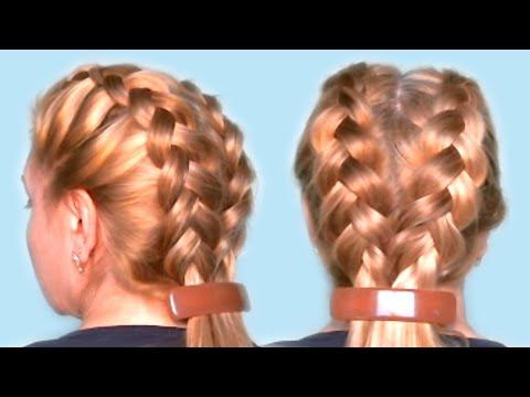 Повседневная Прическа из Двух Косичек Видео Обучение Бесплатно Casual Hairstyle of two Braids