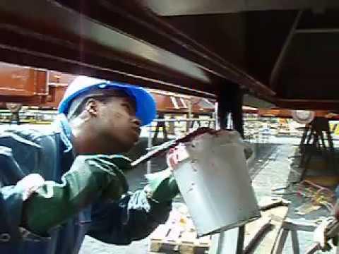 Hatch cover sealing repair work part 1