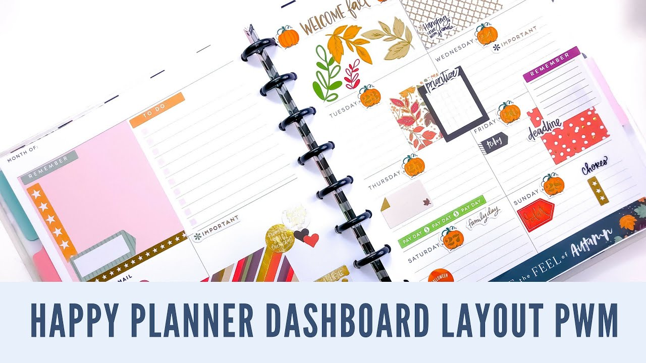 happy planner dashboard layout plan with me 10 22 10 28