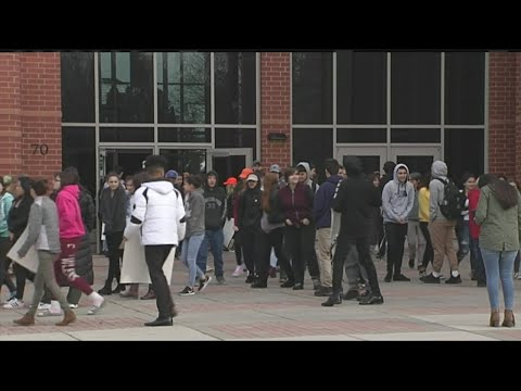 Easthampton High School students joined by the mayor in school walkout