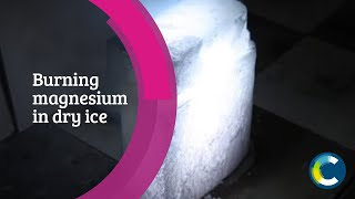 Burning magnesium in dry ice