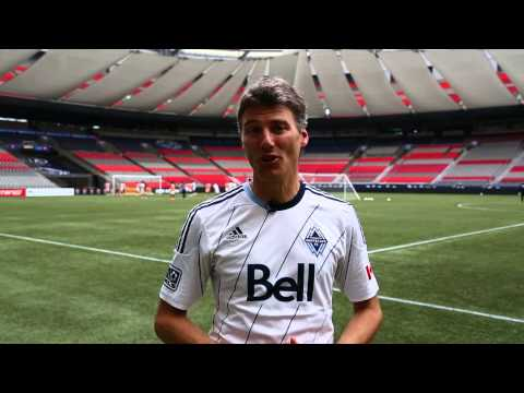 Mayor Robertson practices with the Vancouver Whitecaps