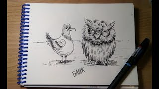 бЛИК- рисуем чайку и сову гелиевой ручкой