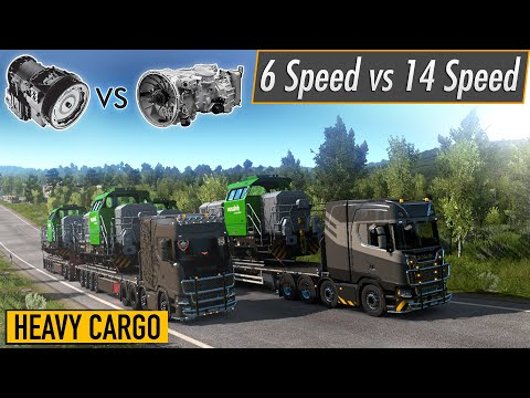 ETS2 - 6 Speed vs 14 Speed Gearbox/Transmission Heavy Cargo Pull Scania S 2016