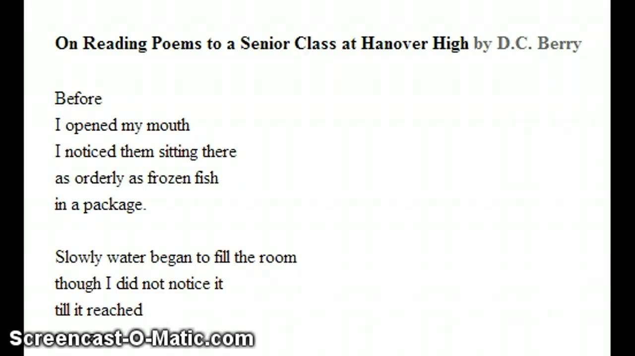 an analysis of the poem reading poems to a senior class at south high by dc berry Ex: look at on reading poems to a senior class at south high by dc berry figurative language saying one thing but meaning another, not to be taken literally.