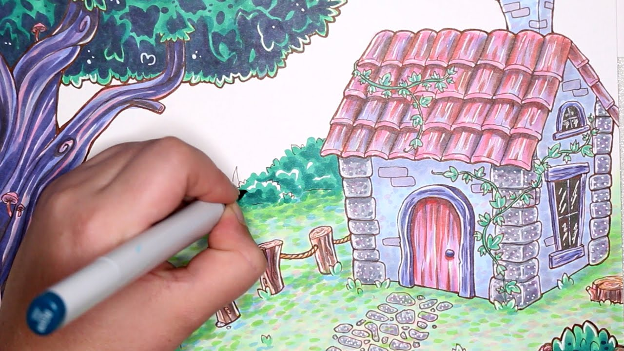 Speckle Cottage Scene FREE Colouring Page Available