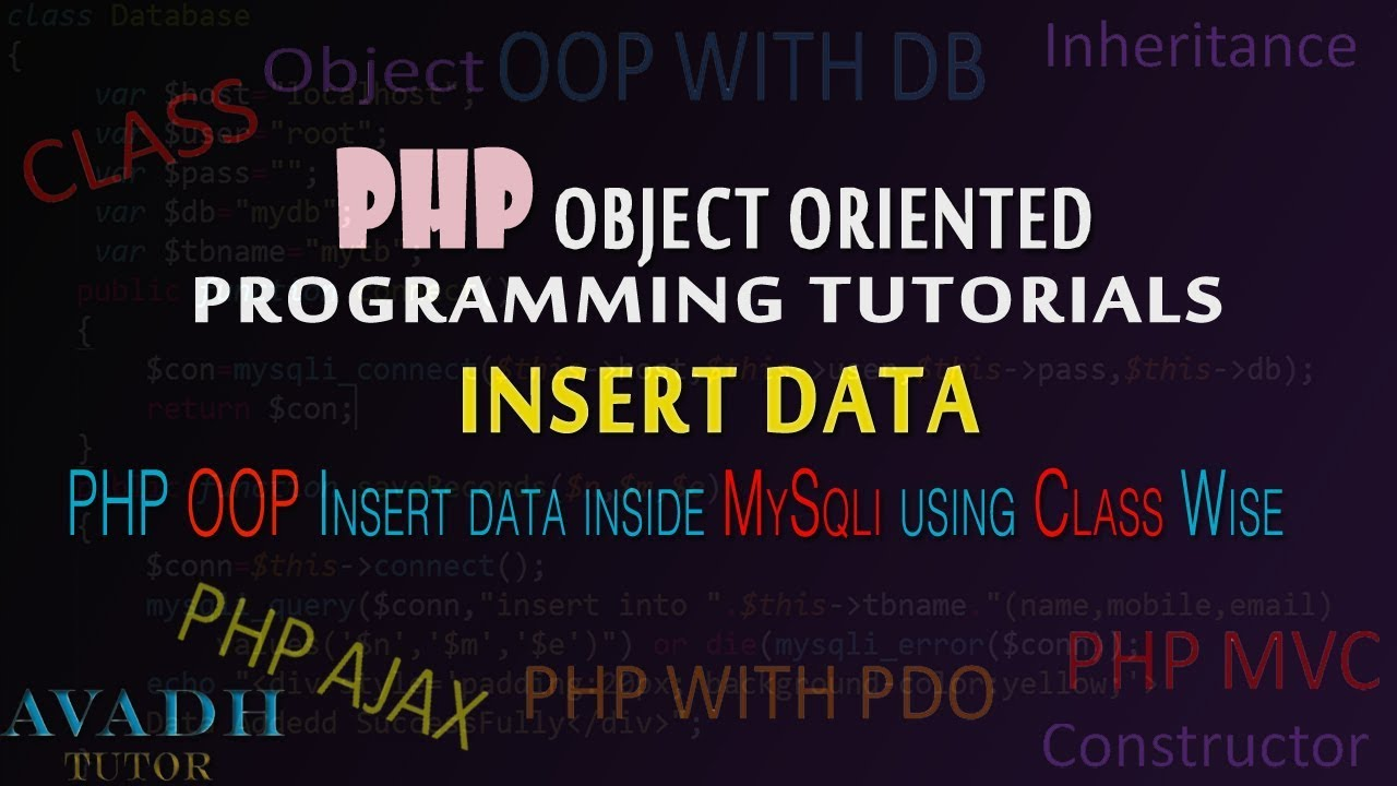 how to insert data inside database using php oop class | class wise insert data using php mysqli