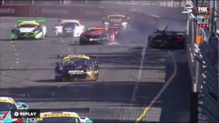 Australian GT Championship 2017. Race 3 Adelaide Street Circuit. Tim Miles & Dean Canto Big Crash