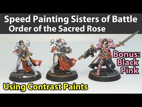 Speed Painting Sisters of Battle with Contrast Paints - Bonus Black Pink Commanders!
