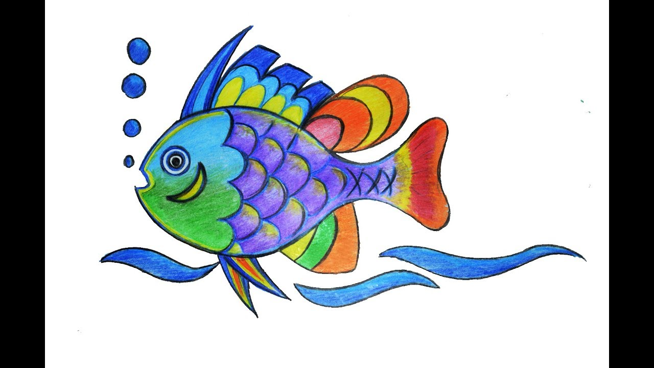 Colorful Fish Drawing How To Draw A Colorful Fish Youtube