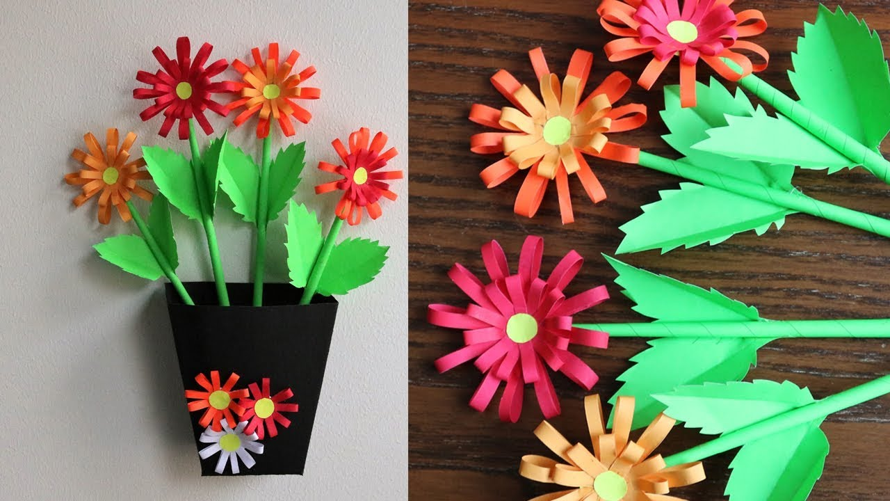 Paper Flower Wall Decoration Diy Wall Decor Ideas Paper Craft Paper Flower