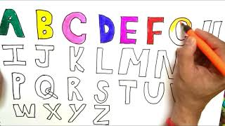 Alphabets Coloring and Drawing, Learn Alphabets abcdefghijklmnopqrstuvwxyz with ABC Song