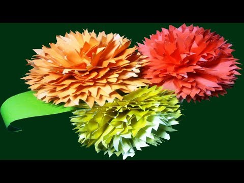 How to Make Carnation Flower with Color Paper   Flowers Making Step by Step   DIY-Paper Crafts