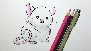 How to Draw a Cute Cartoon Rat with colored pencils