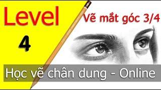Level 4 Học vẽ chân dung CƠ BẢN chuẩn 100% Cách vẽ mắt góc 3/4