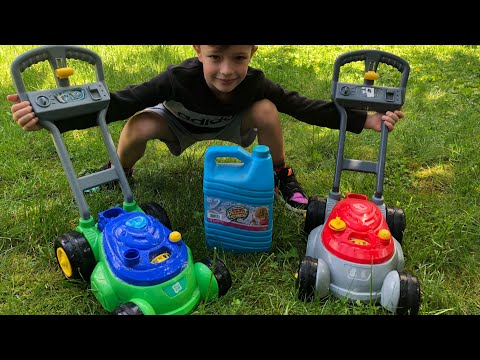BUBBLE Toy Lawn Mower Backyard FUN With Lawn Mowers | Brothers R Us Toys!