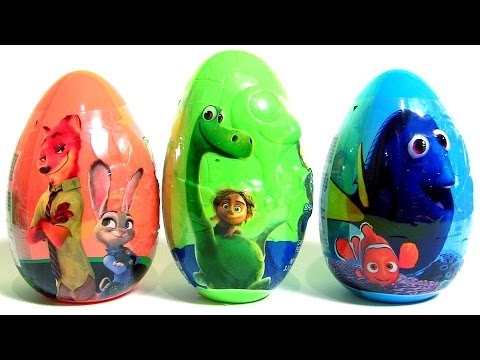 New Giant Eggs Zootopia Finding Dory Disney The Good Dinosaur + Blind Bags Kinder Pets Zootropolis