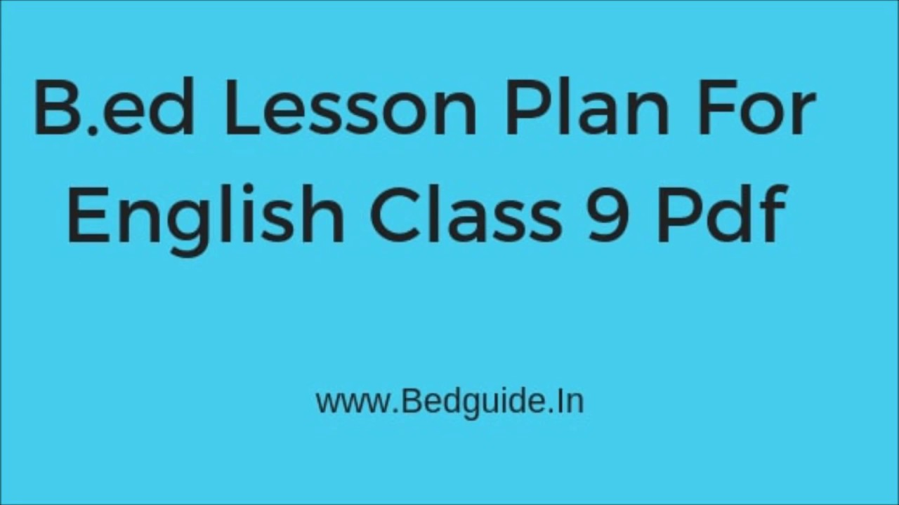 B ed Lesson Plan for English Class 9 Pdf Download With