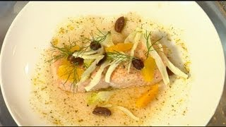 Chef Jennifer Carroll Makes A Unique Salmon Dish, With Ginger Verjus Sauce.