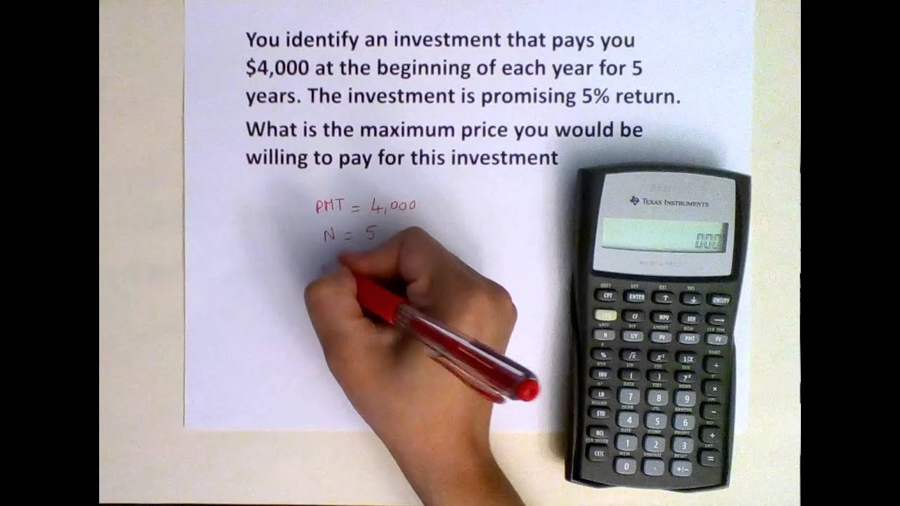 Present Value (PV) of an annuity due using TI BAII Plus calculator - YouTube
