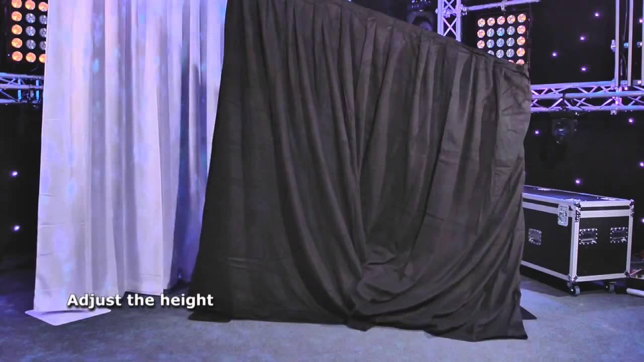 Sistema de textiles con soporte showtec youtube for Bases para colgar cortinas