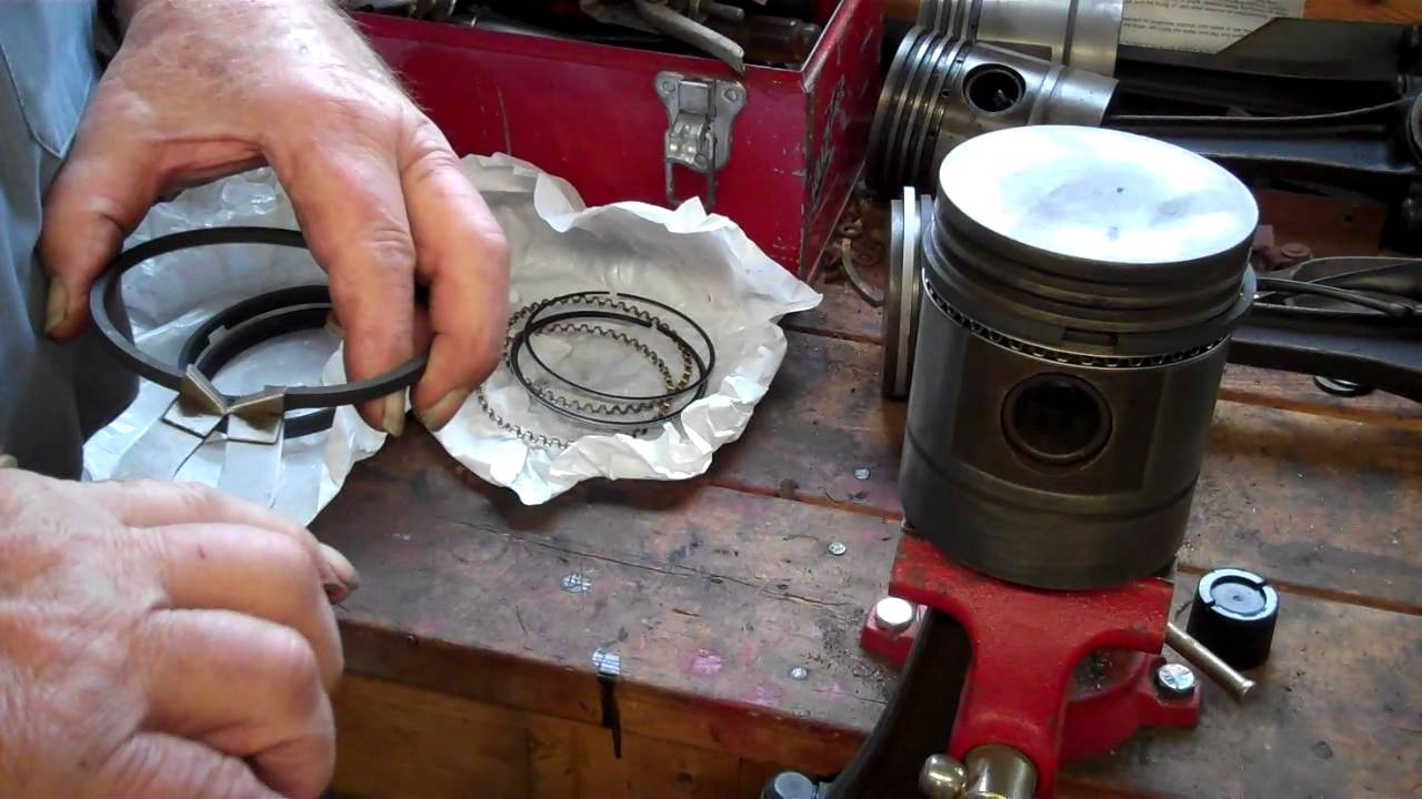 tractor restoration - installing rings on a piston
