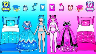 Paper Dolls Dress Up  Blue And Pink New Room Handmade Papercraft  Woa Doll Channel