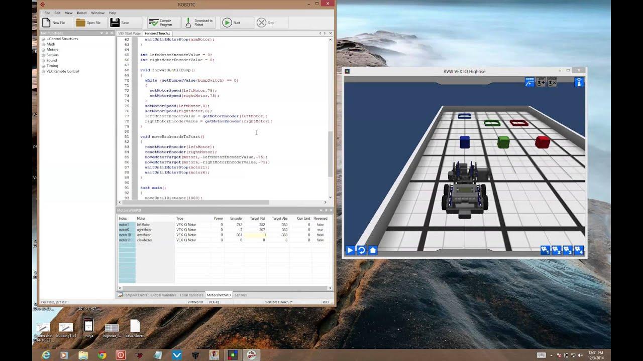 Robotc Virtual Worlds Highrise Training Sensors1 Touch Youtube