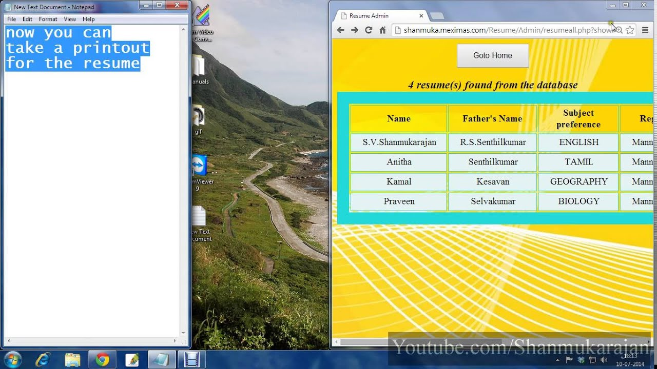 Resume Biodata Curriculam Vitae Management Database In Php Mysql