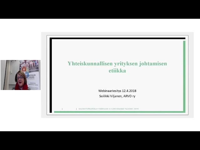 Yhteiskunnallisen yrittäjyyden webinaarisarja, 12.4.2018, Soilikki Viljanen