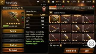 Dynasty Warrior Unleashed Hard Gameplay with LuBu 5 stars and Weapon+Armor 6* +20