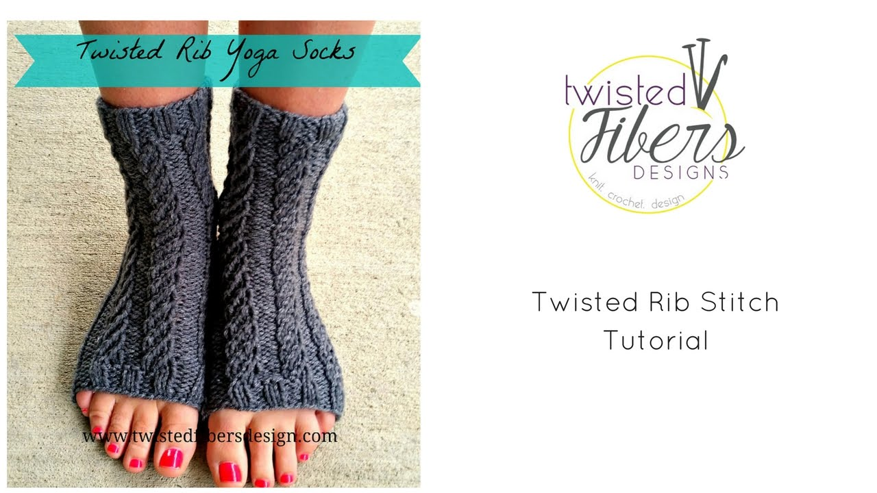 Twisted Rib Yoga Socks Free Knitting Pattern - YouTube