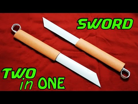 How to make a Double Paper Sword - Paper Sword (TWO in ONE)