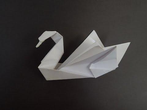 Как сделать лебедя из бумаги. Оригами из бумаги лебедь.