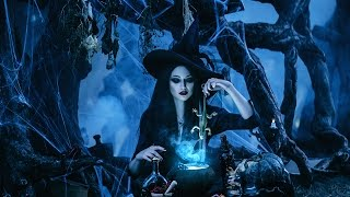 Fantastic photography. Black magic, gothic witch. How are fantasy photos. Backstage filming process.
