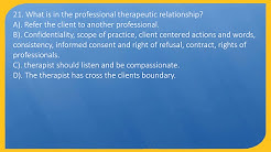 Boundaries, ethics, laws, regulations, Massage, MBLEX (40 Questions)