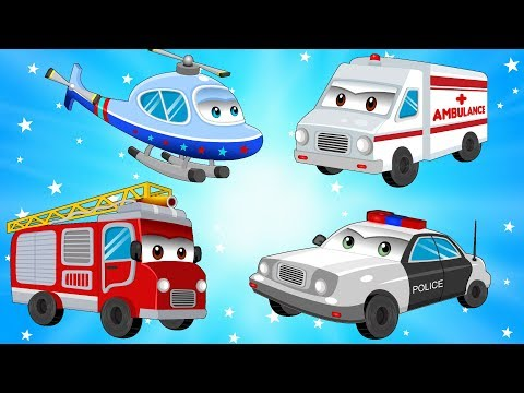 Thumbnail: Street Vehicles - Cars & Trucks for Kids w Police Car and Fire Truck - Children Cartoons & Songs