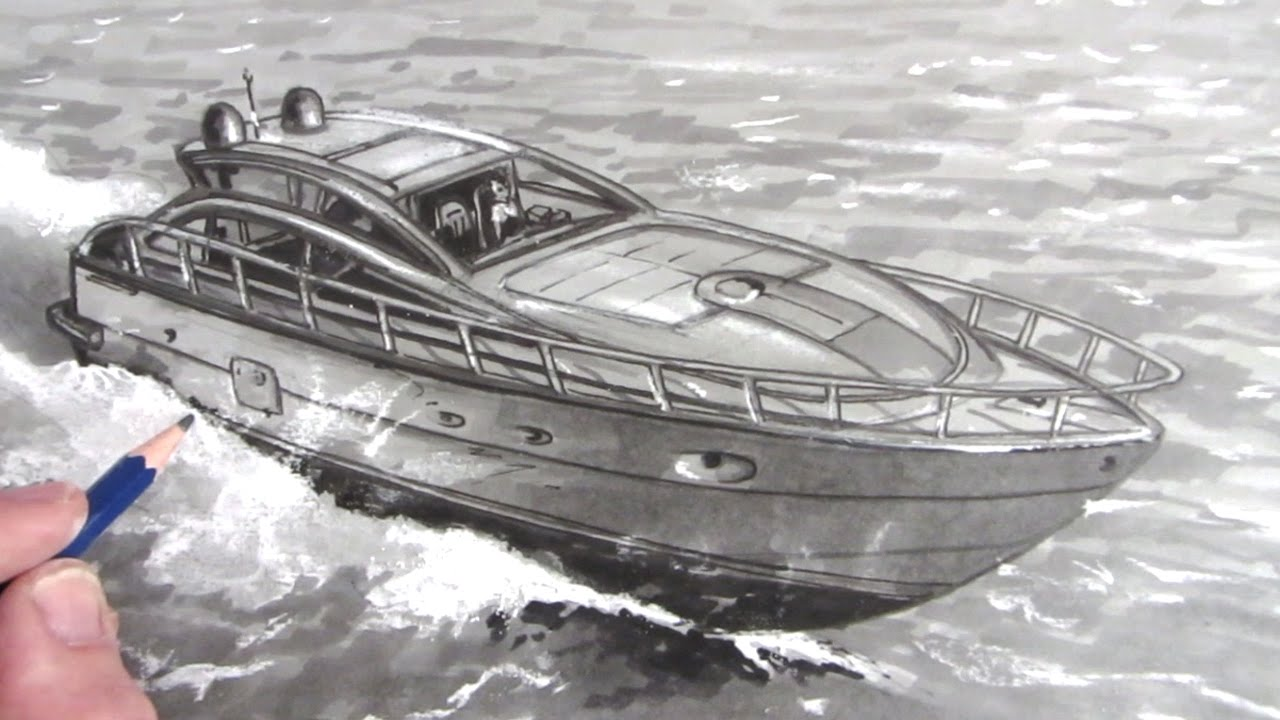 How to draw a boat speed boat on water youtube