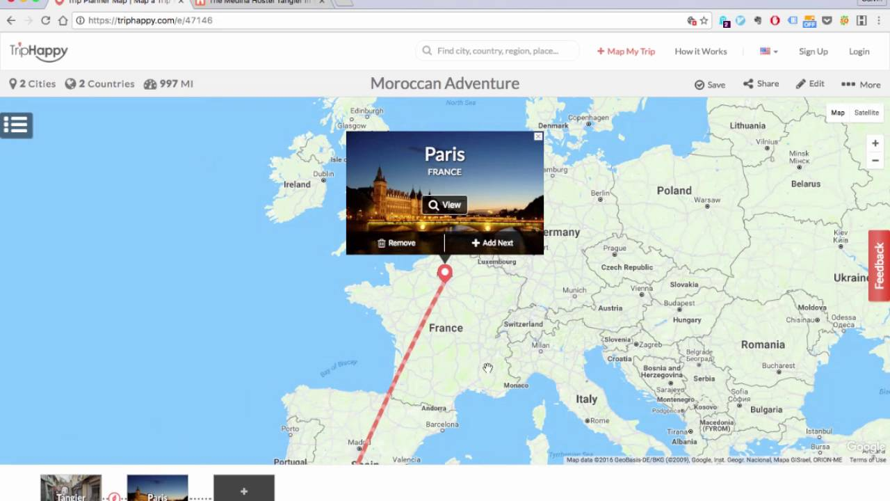 how to map your trip with triphappy
