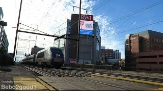 4 NJ Transit, 5 Amtrak & 1 MARC Trains in New Brunswick, NJ RR (60FPS)